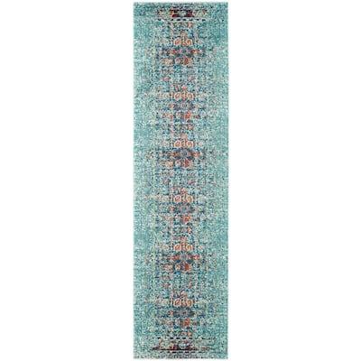 Monaco Blue/Multi 2 ft. x 22 ft. Runner Rug