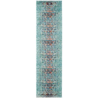 Monaco Blue/Multi 2 ft. x 8 ft. Runner Rug