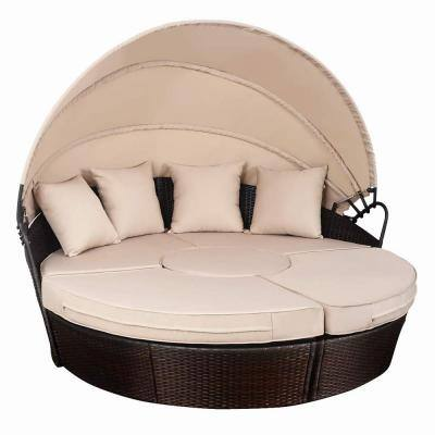 Rattan Retractable Outdoor Patio Canopy Daybed with Brown Cushion