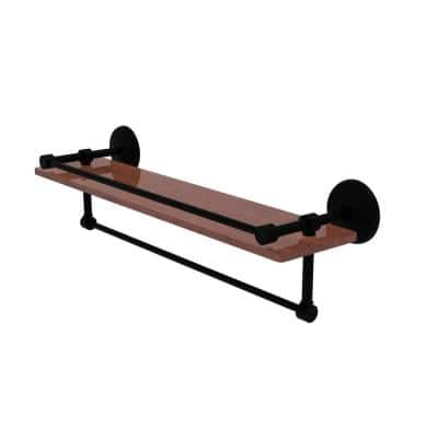 Monte Carlo Collection 22 in. IPE Ironwood Shelf with Gallery Rail and Towel Bar in Matte Black