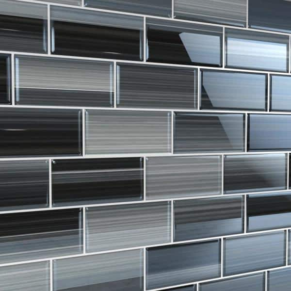 Bodesi Late Night 3 In X 6 In Glass Tile For Kitchen Backsplash And Showers 10 Sq Ft Per Box Hpt Ln 3x6 The Home Depot