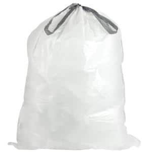 24 in. W x 27 in. H 13 Gal. 0.9 mil White Flat Seal Low Density Drawstring Bags (200-Case)