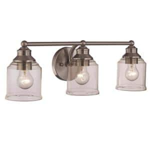 23 in. 3-Light Brushed Nickel Vanity Light with Clear Glass Shades