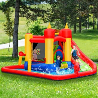 Multi-Color Inflatable Water Slide Jumping Bounce House Bouncy Splash Park