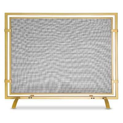 Barton 3-Panel Fireplace Screen Decorative Tempered Glass Guard Fence w//Side Handle Clear 47.75 Width x 30 Height