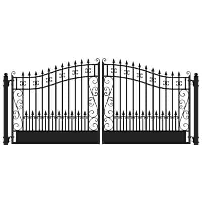 Venice Style 16 ft. x 6 ft. Black Steel Dual Driveway Fence Gate