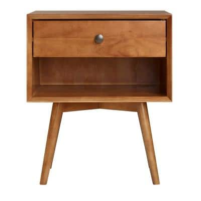 Mid-Century 1-Drawer Caramel Solid Wood Nightstand