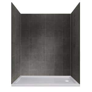 Jetcoat 32 in. x 60 in. x 78 in. Shower Kit in Slate with Right Drain Base in White (5-Piece)
