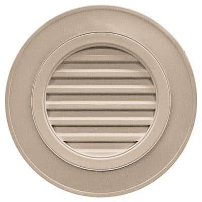28 in. x 28 in. Round Brown/Tan Plastic Built-in Screen Gable Louver Vent