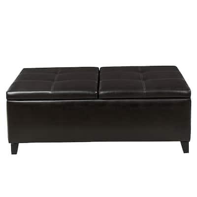 Lanister Brown PU Leather Medium Storage Bench