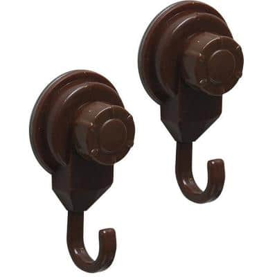 Brown Bath, Kitchen, Home Strong Hold Suction Hooks (Set of 2)