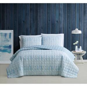 Trevor Blue and White Cotton 2-Piece Twin XL Quilt Set