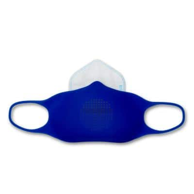 Silicone Reusable Large Adult Face Mask Kit with 5 disposable filters, Royal