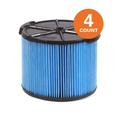 3-Layer Fine Dust Pleated Paper Filter for 3 to 4.5 Gal. RIDGID Wet/Dry Shop Vacuums (4-Pack)