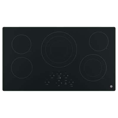 36 in. Radiant Electric Cooktop in Black with 5 Elements Including Power Boil