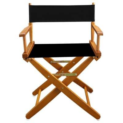 18 in. Extra-Wide Mission Oak Wood Frame/Black Canvas Seat Folding Directors Chair