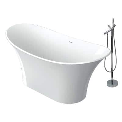 Anais 60 in. Stone Resin Flatbottom Bathtub with Faucet in White