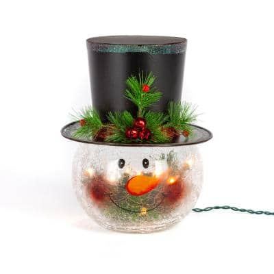 12 in. H Electric Crackle Glass Snowman Head Lamp