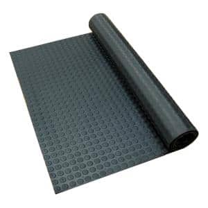 Coin-Pattern Rubber Flooring Black 36 in. W x 300 in. L Rubber Flooring (75 sq. ft.)