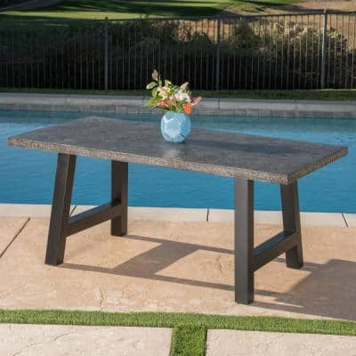 Rectangular Stone and Metal Outdoor Dining Table