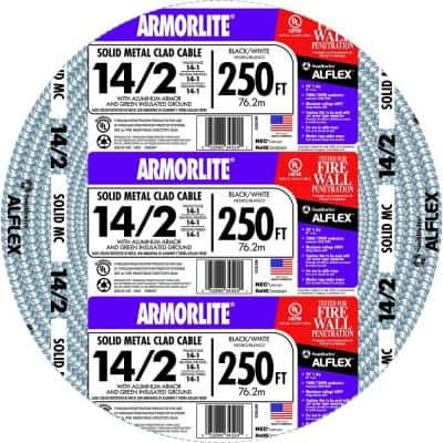 14/2 x 250 ft. Solid CU MC (Metal Clad) Armorlite Cable
