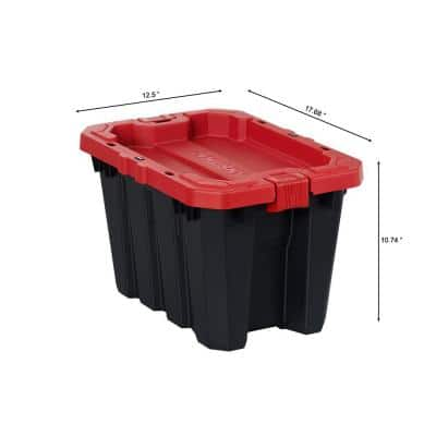 5 Gal. Black and Red Latch and Stack Tote