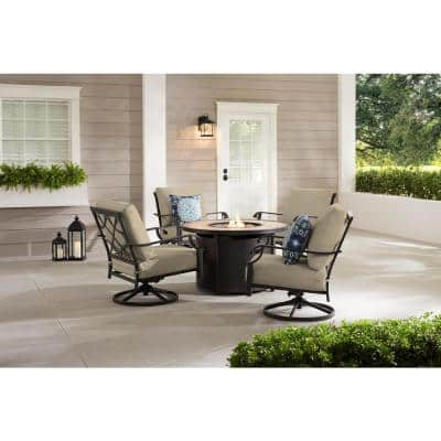 Bowbridge 5-Piece Black Steel Outdoor Patio Fire Pit Seating Set with CushionGuard Putty Tan Cushions