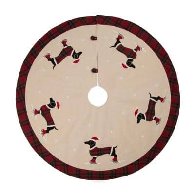 48 in. D Fabric Christmas Tree Skirt - Dachshund