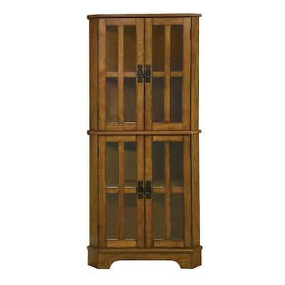 Brown Corner Curio Cabinet with Windowpane Style Door Fronts