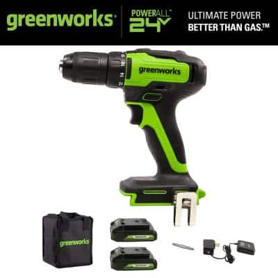 1/2 in. 24V Battery Cordless Brushless Drill/Driver 2 Batteries, Charger, Tool Bag, Belt Clip Included
