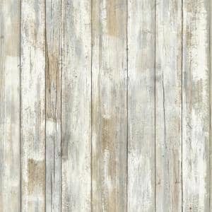 Distressed Wood Vinyl Peel & Stick Wallpaper Roll (Covers 28.18 Sq. Ft.)