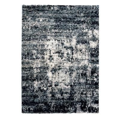 Thera Halisbury Navy 6 ft. x 9 ft. Abstract Shag Indoor Area Rug