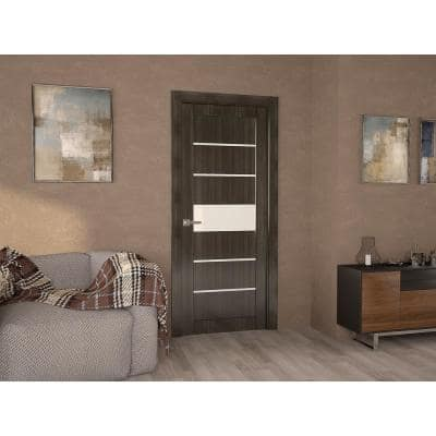 36 in. x 80 in. Siah Gray Oak Right-Hand Solid Core Composite 5-Lite Frosted Glass Single Prehung Interior Door