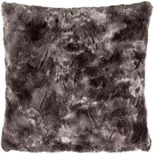 Sowerby Black Faux Fur 20 in. x 20 in. Throw Pillow
