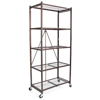 21 in. x 36 in. x 78 in. Large Wheeled 5-Shelf Folding Steel Wire Shelving Bronze