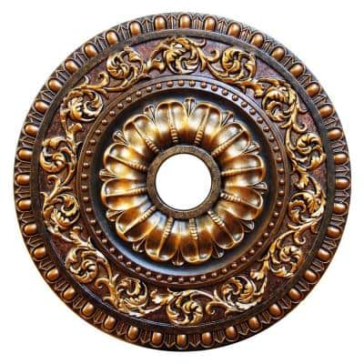 23-5/8 in. Autumn Foliage, Bronze, Gold, Copper Polyurethane Hand Painted Ceiling Medallion