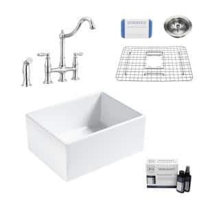 Wilcox II All-in-One Fireclay 24 in. Single Bowl Farmhouse Apron Kitchen Sink with Pfister Bridge Faucet in Chrome