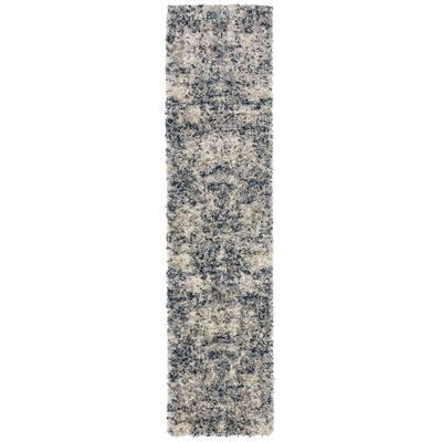 Nordic Blue 2 ft. x 8 ft. Abstract Shag Runner Rug