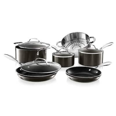 10-Piece Cast Textured Aluminum Ceramic Nonstick Cookware Set in Platinum