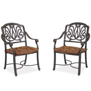 Capri Charcoal Gray Outdoor Stationary Arm Chairs with Burnt Sierra Orange Cushions (Set of 2)