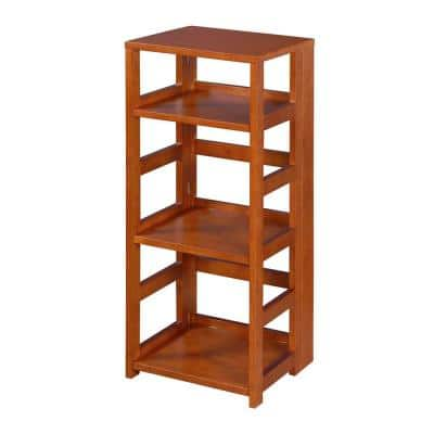 34 in. Cherry Wood 3-shelf Standard Bookcase