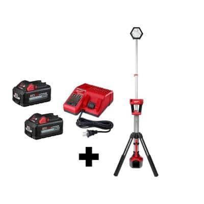 M18 18-Volt Lithium-Ion Cordless Rocket Dual Power Tower Light with (2) 6.0 Ah Batteries and Charger
