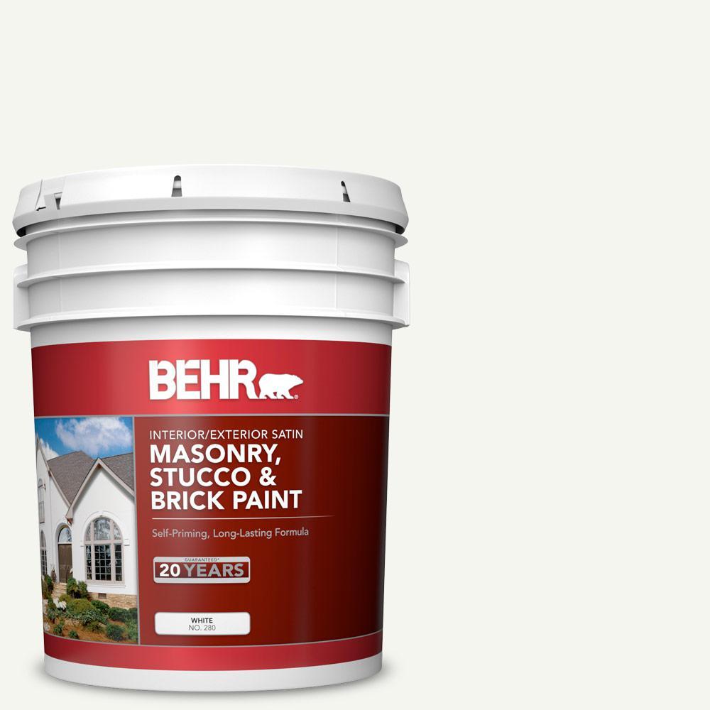5 gal. #MS-31 White Satin Interior/Exterior Masonry, Stucco and Brick Paint