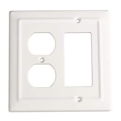 White 2-Gang 1-Decorator/Rocker/1-Duplex Wall Plate (1-Pack)