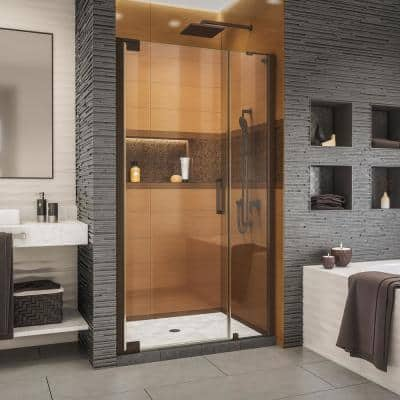 Elegance-LS 40-1/2 in. to 42-1/2 in. W x 72 in. H Frameless Pivot Shower Door in Oil Rubbed Bronze