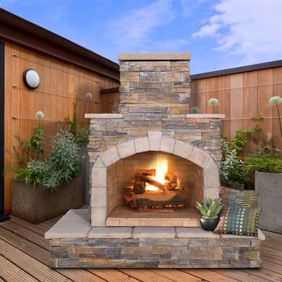 78 in. Brown Stone Veneer Propane Gas Outdoor Fireplace