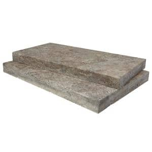 Silver 16 in. x 24 in. Gray Travertine Pool Coping (10 Pieces/ 26.7 Sq. Ft. / Pallet)