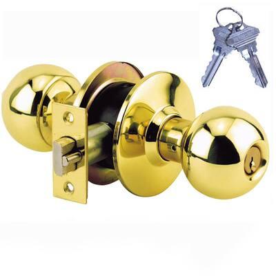Brass Grade 2 Storeroom Door Knob with 2 SC1 Keys