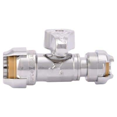 1/2 in. Push-to-Connect x 1/4 in. Push-to-Connect Chrome-Plated Brass Quarter-Turn Straight Stop Valve