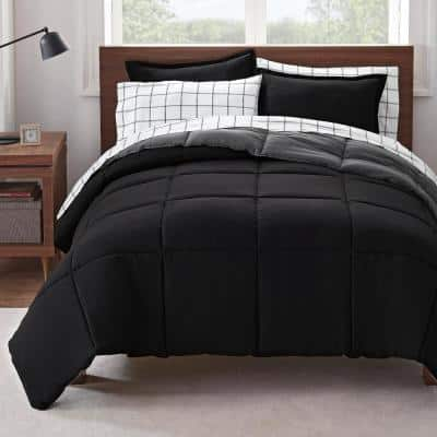 Simply Clean 7-piece Black Reversible Microfiber Queen Bed in a Bag Set